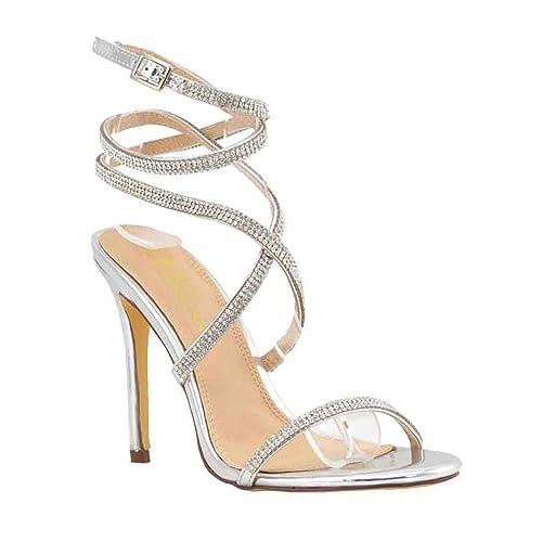 Silver Strappy High Heels