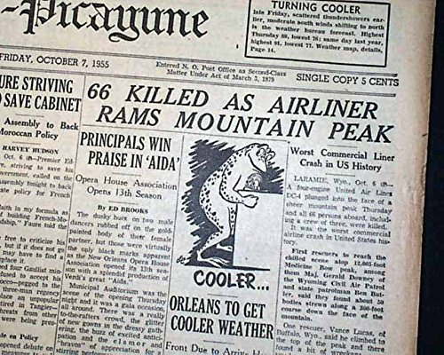 LARAMIE WYOMING United Airlines DC-4 Flight 409 Airplane CRASH 1955 Newspaper THE TIMES-PICAYUNE, New Orleans, October 7, - Dc United Airlines