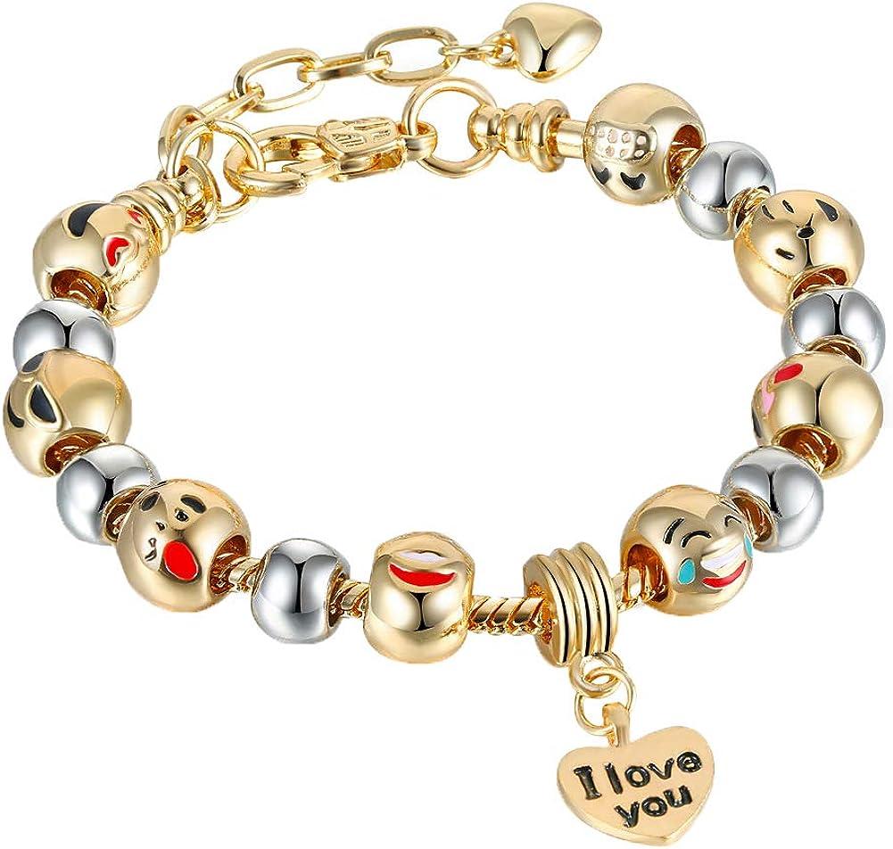 KunBead Birthstone Charms for Bracelets Love Heart Pendant Crystal Family Footprint Birthday Beads Jan-Dec Gift for Women