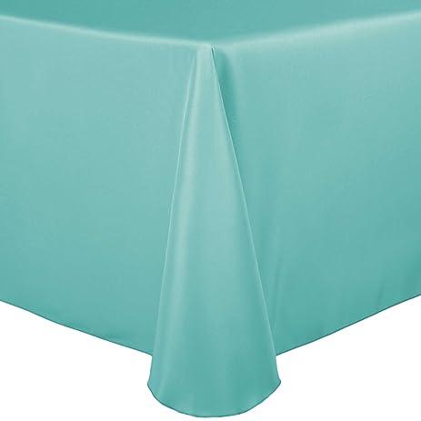 Ultimate Textile 120 X 120 Inch Square Polyester Linen Tablecloth Aqua Blue