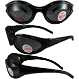 3 Black Frame Motorcyle Biker Riding Glasses