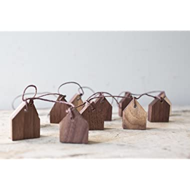 Handmade Wall Hanging House Garland - Holiday Decor Tiny Wooden Houses Walnut Wood String Banner