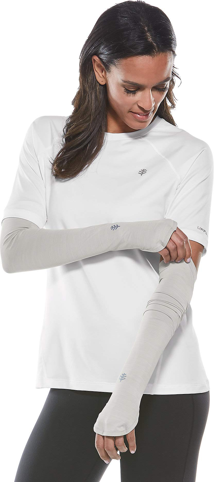 Coolibar UPF 50+ Women's Backspin Performance Sleeves - Sun Protective (Large/X-Large- Silver) by Coolibar