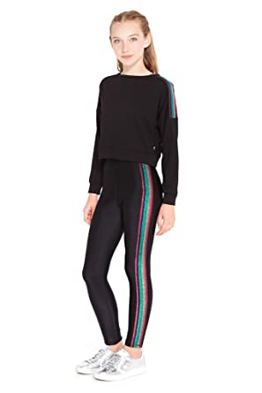 a57955a05b Amazon.com: Terez Leggings for Girls and Boys, Fun Rainbow Metallic Elastic  on Side Seam Pants, Workout Clothes for Kids: Clothing