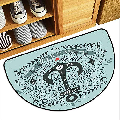 G Idle Sky Navy Printed Door mat Vintage Style Anchor Lettering Quotes and Floral Sailor Marine Design Artwork Print Mildew Proof W35 x L23 Turquoise