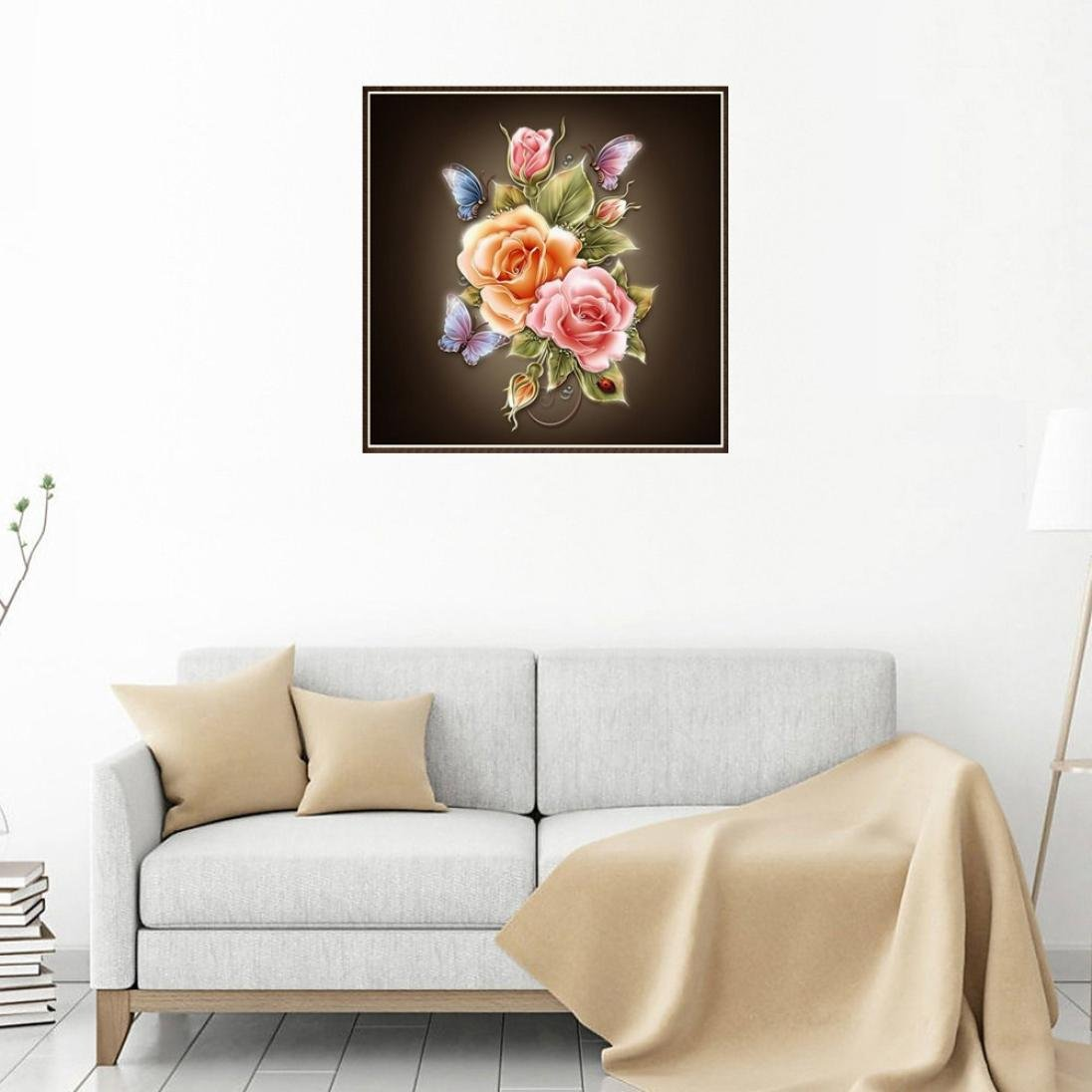 D Hot Sale DIY 5D Diamond Embroidery Painting Kits Iuhan 5D Elegant Flower Embroidery Paintings Rhinestone Pasted DIY Diamond Painting Cross Stitch Home Decals
