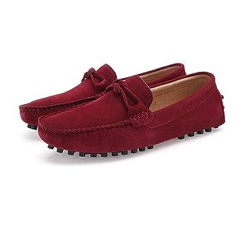 2018 Mocasines Zapatos para Hombre Decoración de Nudo de Lazo de los Hombres Mocasines Casuales de Cuero Genuino del Ante Mocasines (Color : Vino, ...