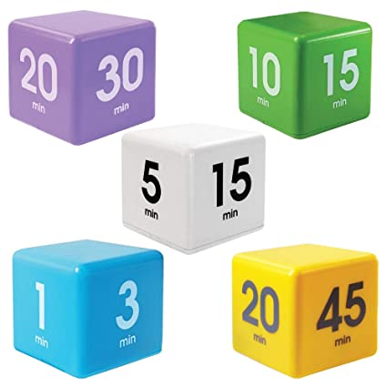 The Miracle TimeCube Timer, 5 Piece Set, For Time Management, Kitchen  Timer, Kids Timer, Workout Timer, Preset Countdown