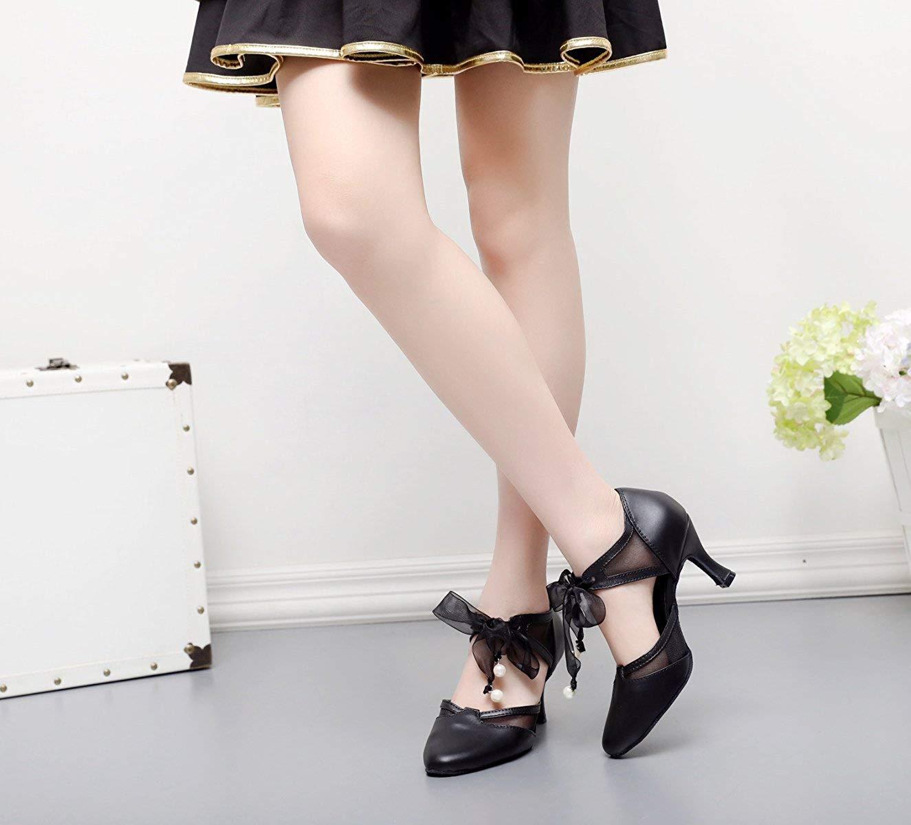 Damen Strap Leder Latin Salsa Ballroom Dance Schuhe Jazz Tango Chacha Samba Modern Jazz Schuhe Schuhe Sandalen High Heels Schwarz-Absatz7.5cm-UK2.5   EU32   Our33 254d1b