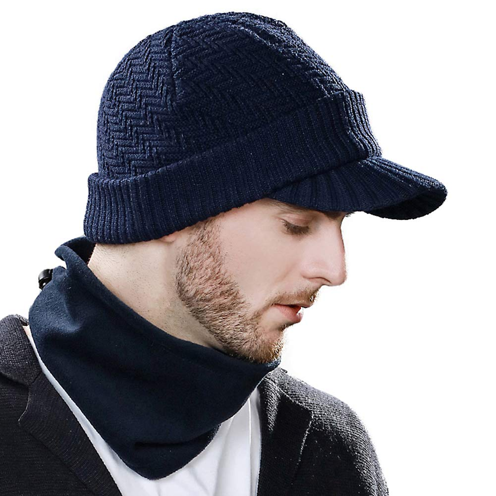 ff1615c0fdb93c Womens Mens 50% Wool Knit Beanie Visor Cap Winter Hat Fleece Neck Set Ski  Face Mask Navy