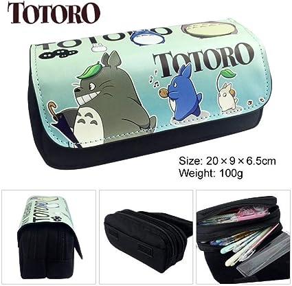 Mi vecino Totoro Lápiz Monedero Anime Gran capacidad Doble cremallera Estuche de lápices Monedero Chinchilla Estuche Lápiz Papelería Bolsa 2: Amazon.es: Oficina y papelería