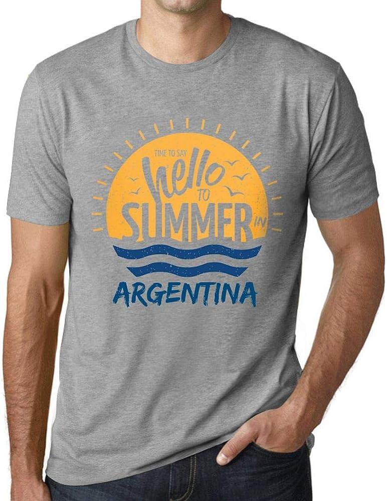 Hombre Camiseta Vintage T-Shirt Gráfico Time To Say Hello To Summer In Argentina Gris Moteado: Amazon.es: Ropa y accesorios