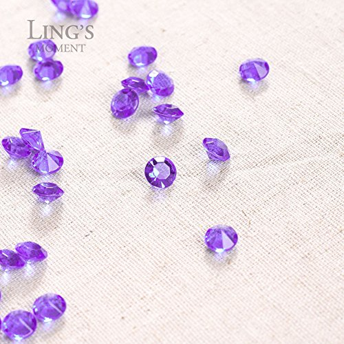 Ling's moment 900 COUNT Purple White 4 Carat/10mm Sparkle Diamond Table Confetti Decorations for Wedding Centerpieces Bridal Shower Graduations Party Valentines Decorations