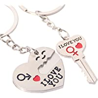 Funnytoday365 Two Pieces Key Chain Ring Keyring Keyfob Lover Gifts I Love You Heart Arrow Hanging Decor