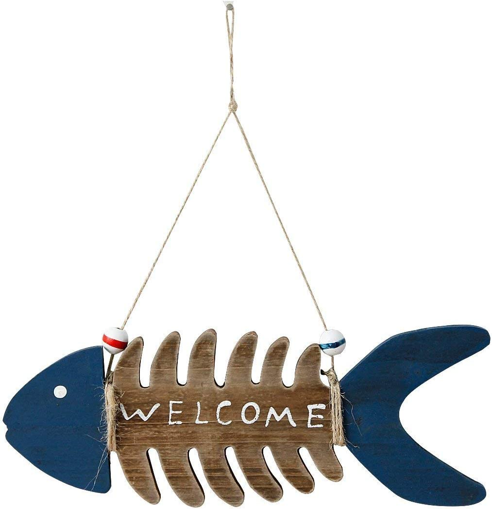 YUMBOR Wooden Fish Welcome Sign Nautical Wall Art Decor,Hanging Vintage Fish Ornament Home Bathroom Office Beach Themed Decoration
