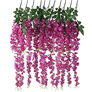 Houda Artificial Fake Wisteria Vine Ratta Silk Flowers for Garden Floral Decor (Rose Red) 24