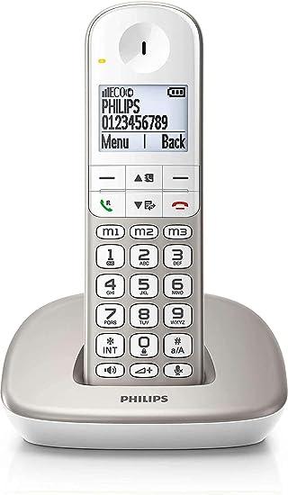 Philips XL4901S/23 - Teléfono Fijo Inalámbrico (16 Horas, Audífonos Compatibles, Marcación Directa, Manos Libres, My Sound, 2 Números por Contacto, Antideslizante, Reducción de Ruido) Blanco/Dorado: Amazon.es: Electrónica