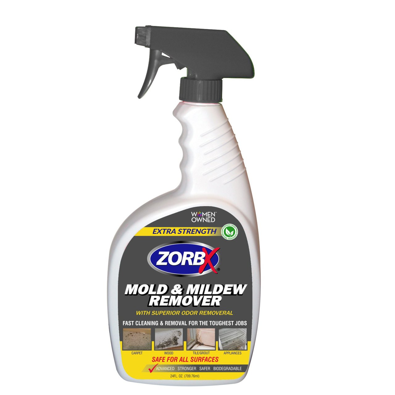 ZorbX Extra Strength Mold and Mildew Cleaner and Odor Remover – Non-Toxic and Biodegradable Cleaner and Odor Remover is Safe for All, Even Children, with No Harsh Chemicals (24 oz.)