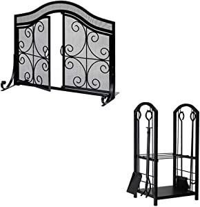 Amagabeli Firewood Rack Fireplace Tool Rack Bundle Fireplace Screen with Doors