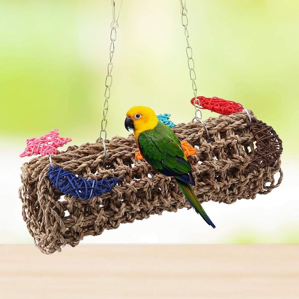 Sheens Giocattolo da Masticare a Forma di Gabbia per Uccelli con Amaca Naturale a Pappagallo per pappagalli di Piccole e Medie Dimensioni