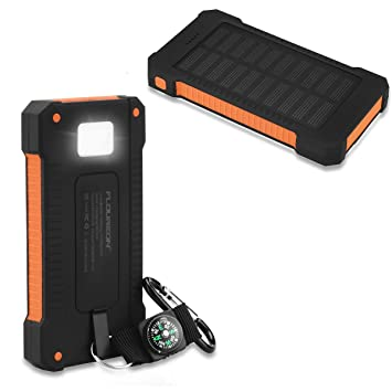 newest 39e5c f198d FLOUREON 10000mAh Solar Power Bank Charger Waterproof Portable ...