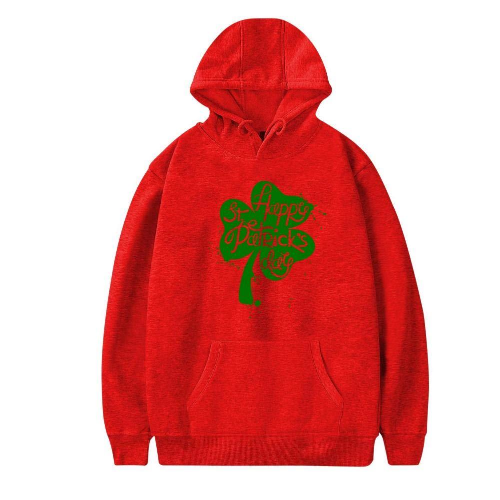Funny Pigment Splashing Happy Saint Patricks Day Warm and Casual Printed Thicken with Pocket Sweatshirt XXL Red Hyejizn Mens Hoodies