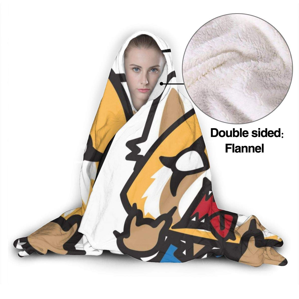 Silver Bullet Aggretsuko Retsuko Wearable Hooded Blanket Hood Ultra Soft Micro Fleece Mens Women Blanket Hooded Fuzzy Lightweight Plush Bed Couch Living Room 50x40