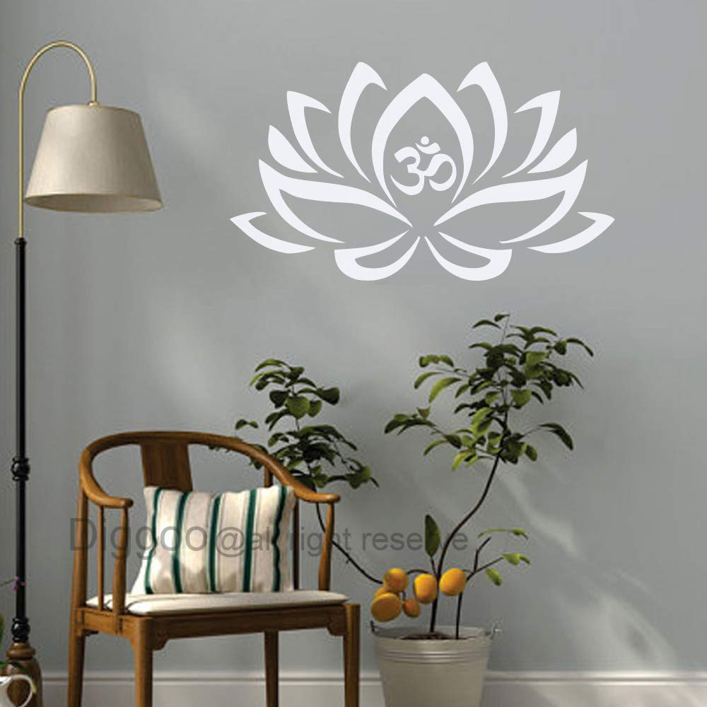 Amazon com lotus flower with om sign yoga wall decals vinyl mandala flower home decor art vinyl sticker whitem 6417172994763 books