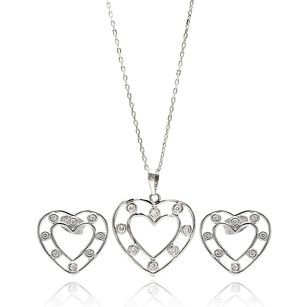 Princess Kylie Clear Cubic Zirconia Open Heart Stud Earrings Necklace Set Rhodium Plated Sterling Silver