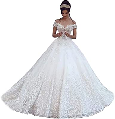 Amazon Com Chady Sexy Off Shoulder Lace Ball Gown Wedding Dresses For Bride 2018 Cap Sleeves Applique Sweep Train Backless Bridal Gowns Clothing