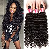 Nadula 6a Remy Virgin Brazilian Deep Wave Human Hair Extensions Pack of 3 Unprocessed Deep Wave Weave Natural Color Mixed Length 18inch 20inch 22inch