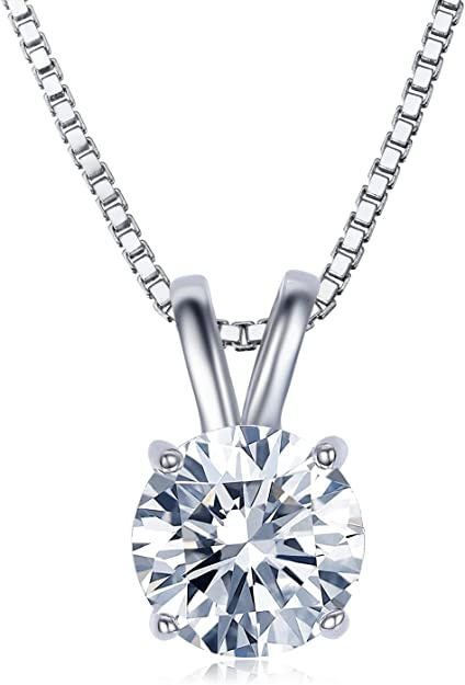 UMODE 18K White Gold Plated Cubic Zirconia Necklace for Women-2 Carat CZ Solitaire Pendant Necklace