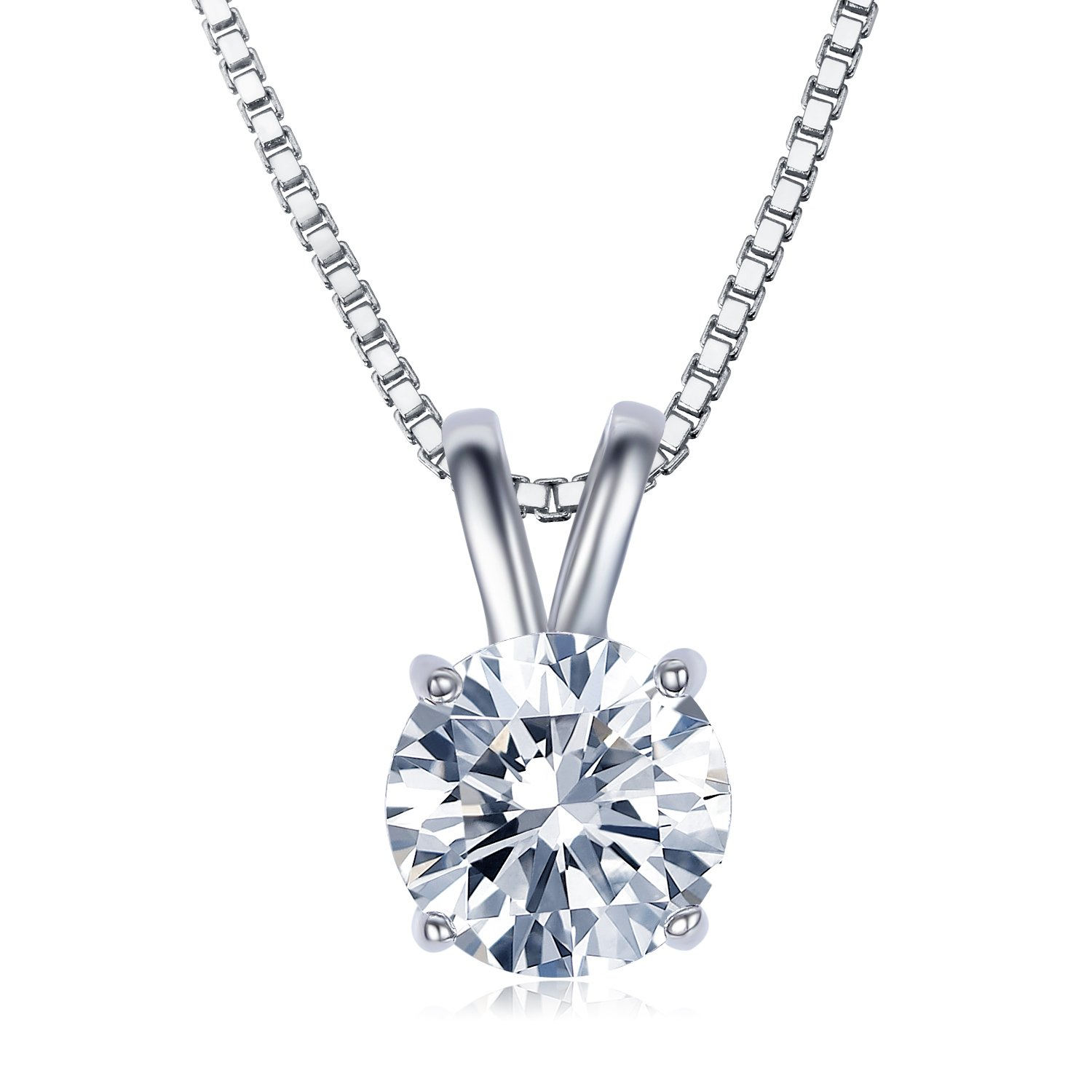 UMODE Jewelry 2 Carat Round Cut Clear Cubic Zirconia CZ Solitaire Pendant Necklace for Women 18'' (16''+2'' Ext.)