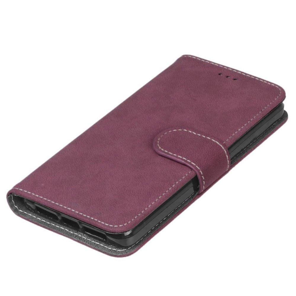 pinlu® Funda para BQ Aquaris E5 4G (5.0pulgada) Función de Plegado Flip Wallet Case Cover Carcasa Piel Retro Scrub PU Billetera Soporte con Ranuras ...