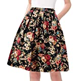 Taydey Women A Line Retro Skirts Classy Floral Printed Size L Deep Golden Flower