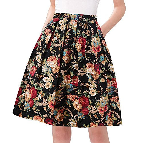 Taydey Short 50's Retro Pleated Skirt Bubble Style Size M Deep Golden Flower