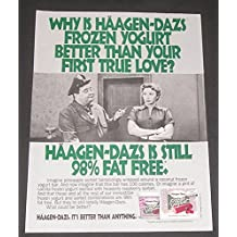 1993 PRINT AD Haagen-Dazs Yogurt, The Honeymooners 1950's Television Show, Jackie Gleason & Audrey Meadows Photo, Original Vintage Magazine Advertisement / Collectible Paper Ephemera