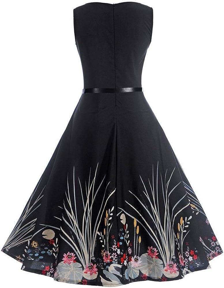Vintage Dresses for Women,Women Vintage 1950s Retro Short Sleeve V-Neck Printing Party Prom Swing Dress