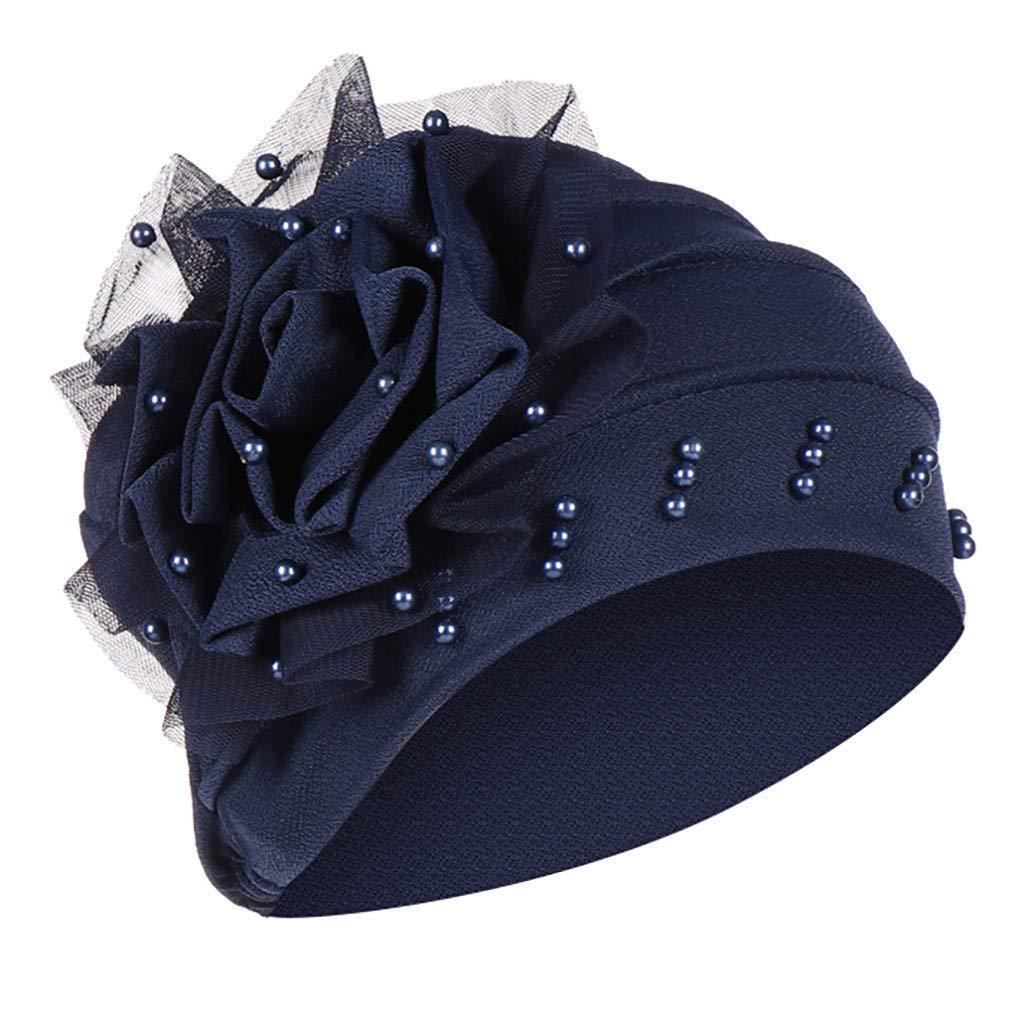 Damen Perle Perlen Blume Muslim Hut Turban Chemo Krebs Cap Kopftuch Kopfbedeckung Hat Head Wrap Scarf Cap Schal M/ützen Headscarf