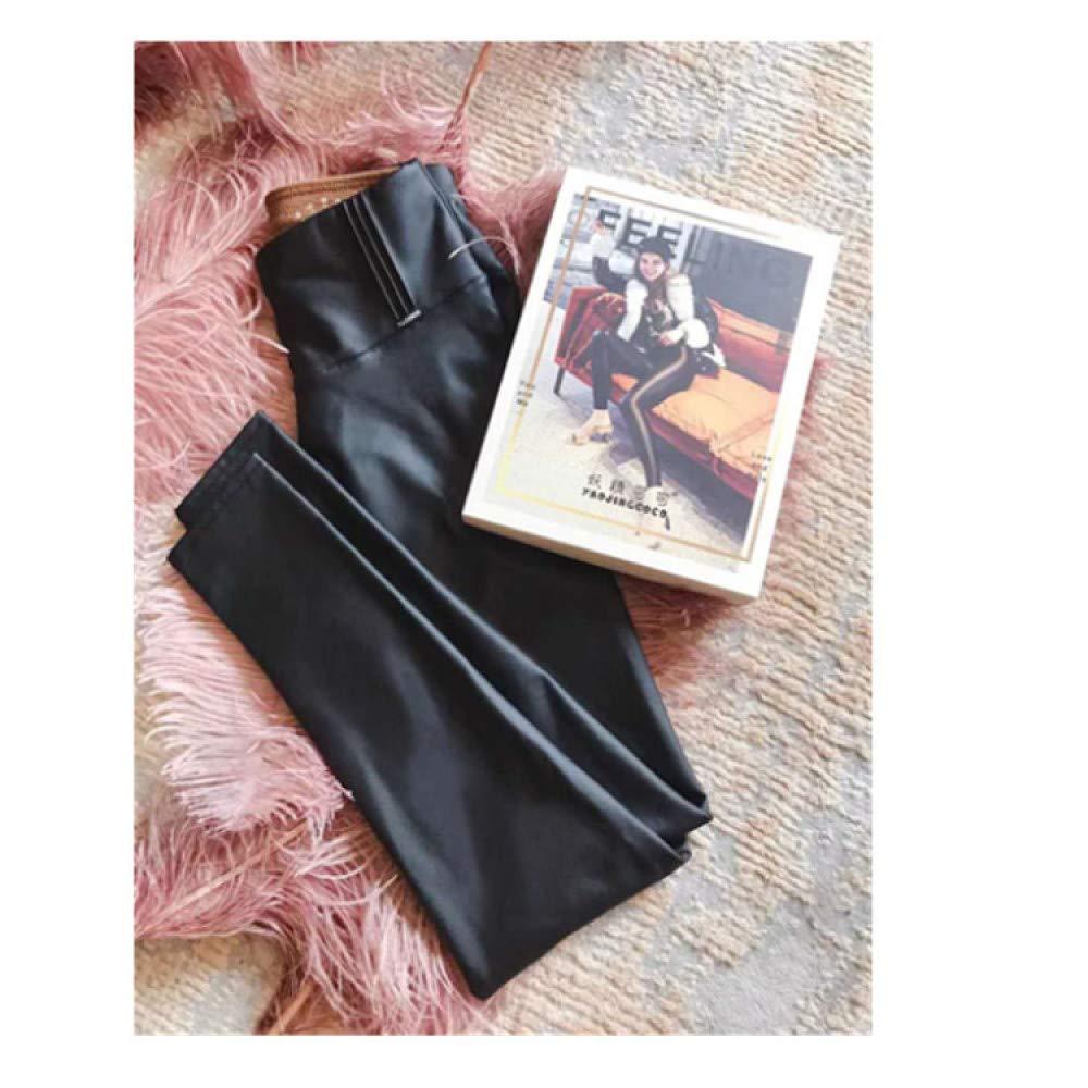 nouler Pantalones de Cuero de la de PU Terciopelo Delgado Polainas de la Desgaste Exterior de Cintura Alta Slim Fit Fino Cálido,Negro,L 57a29b