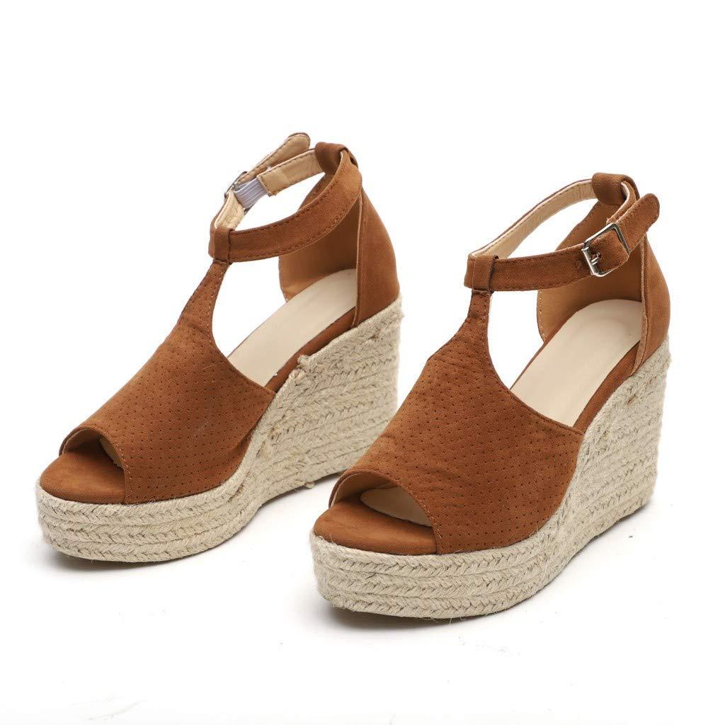 Mealeaf - Sandalias de tacón Alto y Alto para Mujer (Negro, marrón ...
