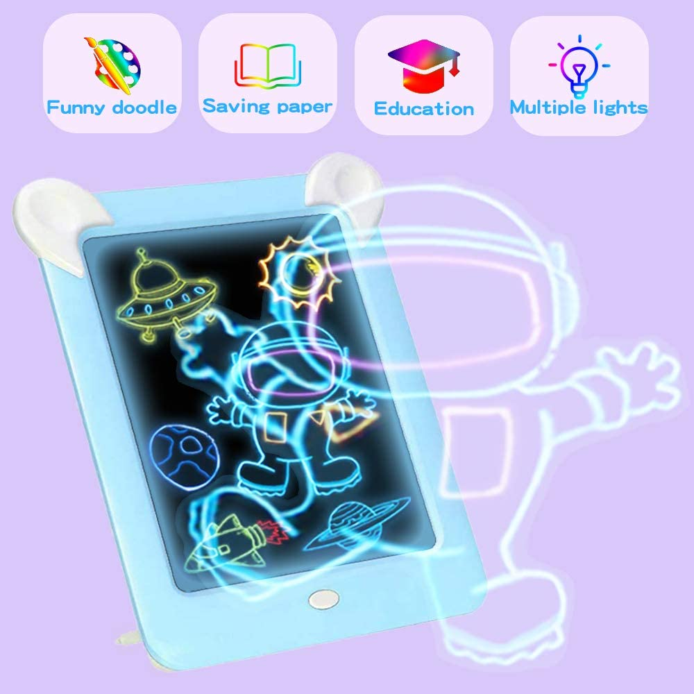 Magic Drawing Board 19 Stencils Magic Drawing pad Erasable Graffiti Drawing Colorful Luminous Paperless /& Photo Frame Gifts for Kids Portable Glow Board Pad 4 Drawing Pens 3D Glow/Pads/for/Kids