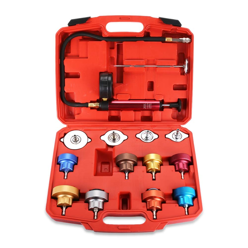 Water Tank Leak Detector Kit Radiator Pressure Tester Pump Adapters 14 PCs Pressure Cooling System car Leak Tester Kit Detector Tool Auto Coolant Vacuum Purge Head Gasket Universal Automotive