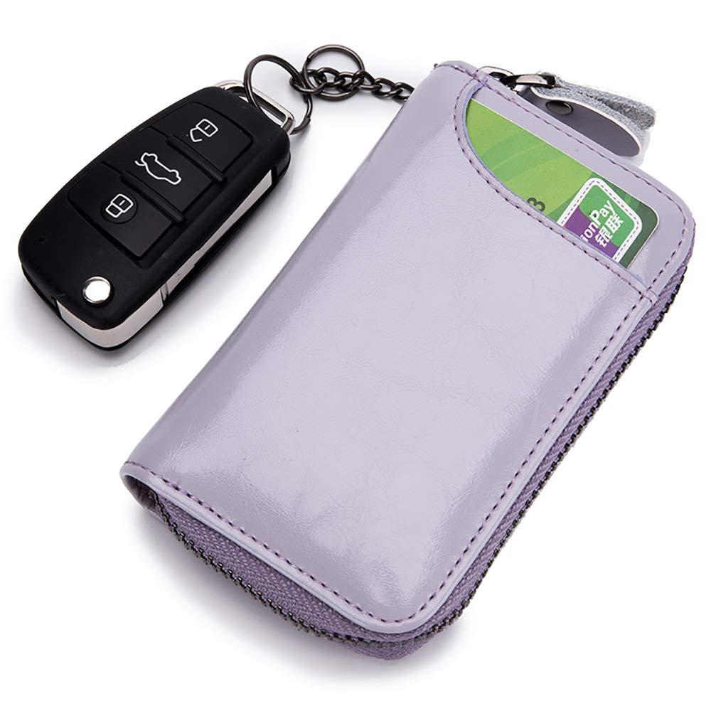 ZGSDYYT Leather Key Case Wallet Men Car Key Wallet Holder Housekeeper Organizer Keys Chain Ring Zipper Bag Keychain Pouch