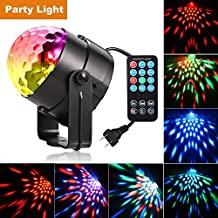 Party Lights, YiYiBa Disco Ball DJ Lights RGB Stage Lighting Strobe LED 7 Color Changing Sound Activated Magic Ball Projector Effect Strobe Lights with Remote Control For Dj Club Bedroom Kids Birthday