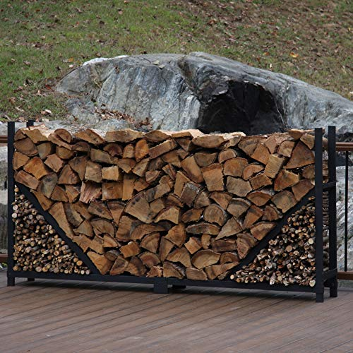 Shelter It 23318 Straight Kindling Kit Log Rack, 8', Black