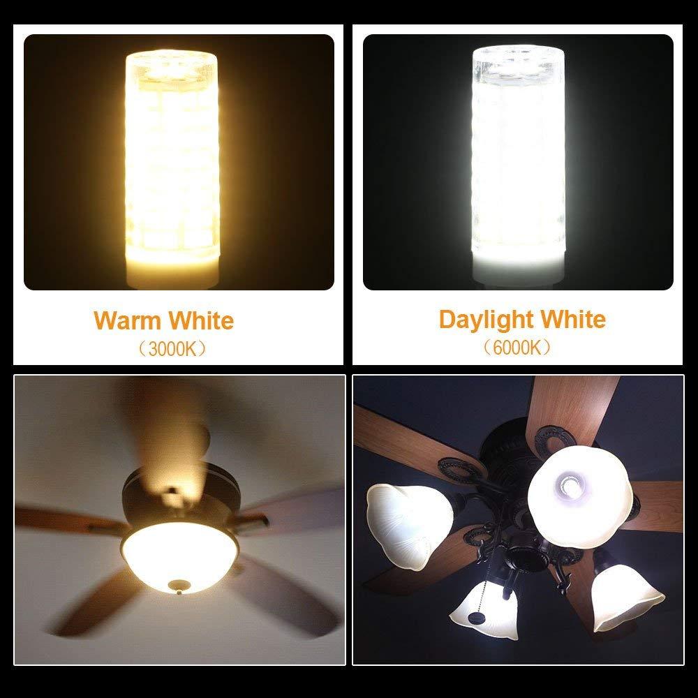 1000LM Dimmable 3000K Warm White AC110V 120V Pack of 5 8W JD E11 LED Bulbs Mini Candelabra LED Base 150W 100W Halogen Equivalent