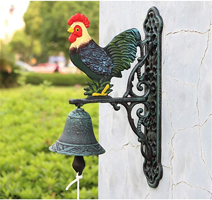 Rustic Vintage Decorative Door Bell Outside House Bird Rustic Metal Wall Mount Door Call Bell Farmhouse Style Classic Dinner Bell Wind Chime Hanging Ideal For Front Porch Casted Iron Doorbell Home Kitchen
