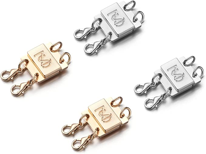 Zpsolution Locking Magnetic Double Necklace Layering Clasp, Separator for Stackable Necklaces and Chains with Storage Box