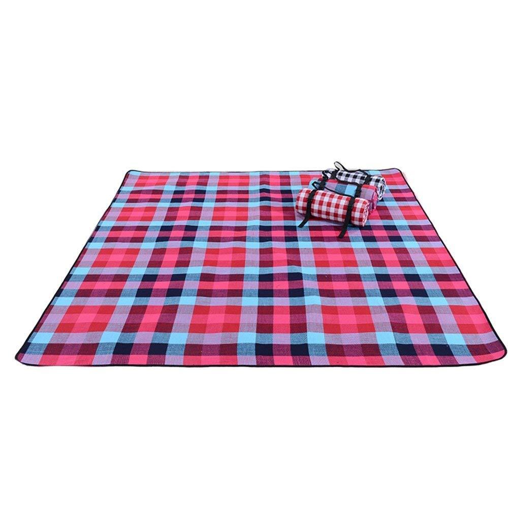 Grilles Bleues Rouges 270x270cm MDD Voyage en famille couverture de camping-tente extérieure tapis imperméable tapis de camping multijoueur épais grandn couverture de pique-nique grand,Grilles blanches noires,250x250cm